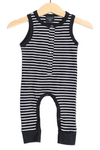 Little Bipsy tank romper in black stripes
