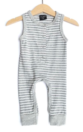Little Bipsy - Tank Romper with Snaps in Grey Stripes
