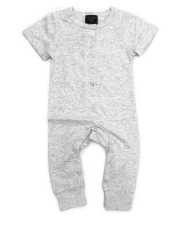 Baby Heather grey henley romper