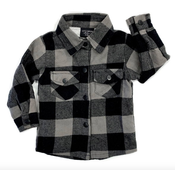 Little Bipsy buffalo plaid flannel in black and charcoal