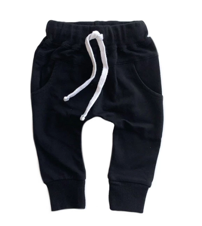 Little Bipsy - Pocket Joggers in Black (Size 0-3mo and 6-12mo)