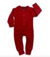 Little Bipsy Long Sleeve Classic  Snap Romper maroon