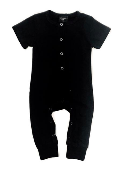black henley romper for babies