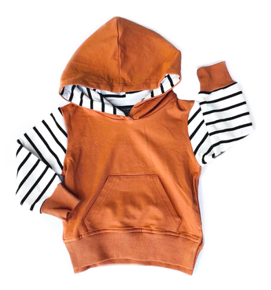 Little Bipsy - Stripe Hoodie in Rust