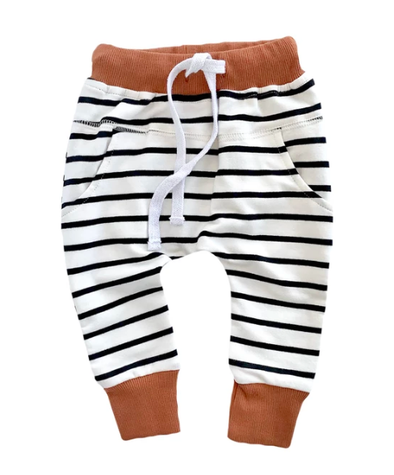 Little Bipsy - Stripe Joggers in Rust (Size 3-4T)