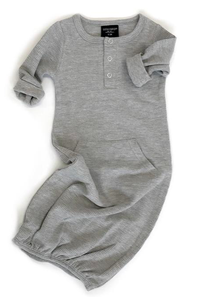 Little Bipsy - Thermal Henley Infant Gown in Heather Grey