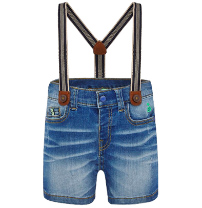 Baby boy denim shorts with suspenders