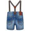 Mayoral - Baby Bermuda Denim Shorts with Suspenders in Bleached Blue