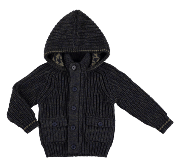 Mayoral - Boys Hooded Cardigan Sweater in Charcoal Brown