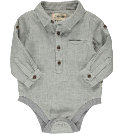 infant button up onesie grey