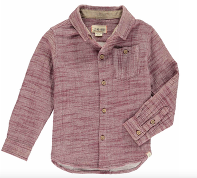 Me & Henry - Boys Woven Button-Up Shirt in Wine (Size 4/5)