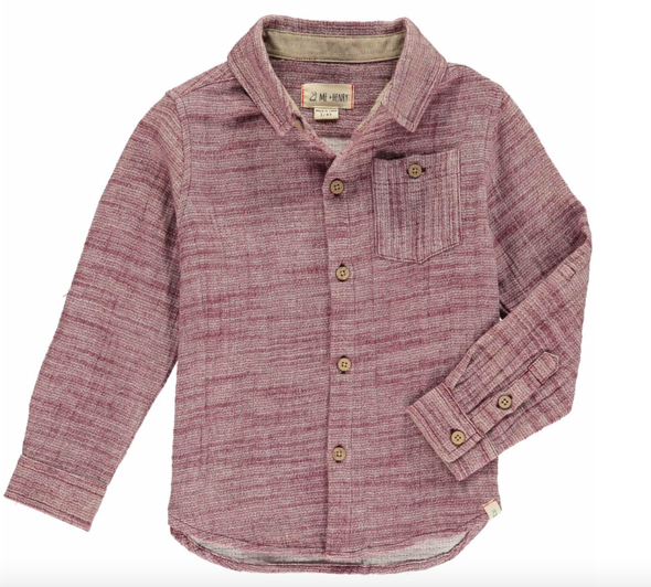Me & Henry - Boys Woven Button-Up Shirt in Wine
