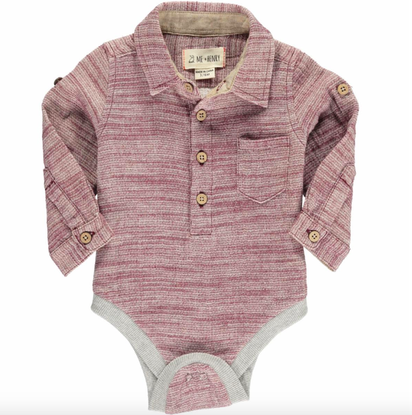 Me & Henry baby button up onesie wine
