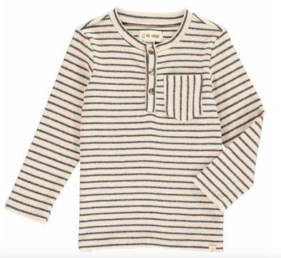 Me & Henry - Baby Stripe Pocket Henley in Oatmeal (Size 5/6 and 7/8)