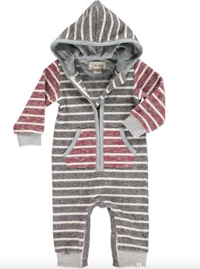 Me & Henry - Baby Striped Hooded Romper in Brown and Wine (Size 6-12mo)
