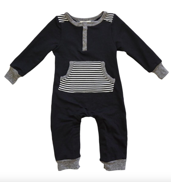 Miki Miette baby boys black and white romper