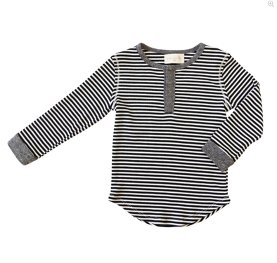 Boys black and white striped henley