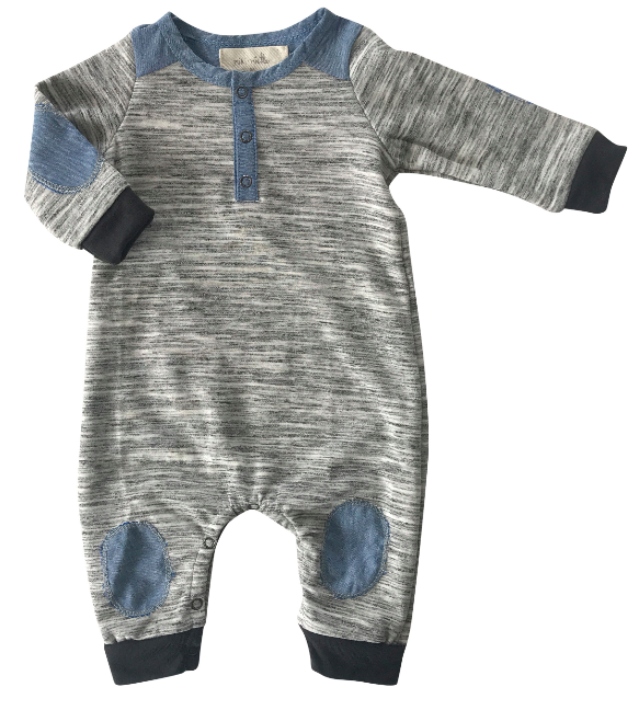 Miki Miette baby romper in grey marble