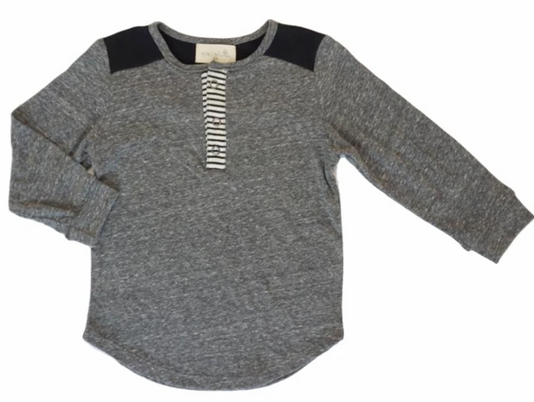 Miki Miette - Long Sleeve Henley in Heather Grey and Black