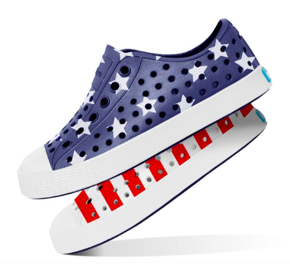 Native - Kid's Jefferson Shoe - Stars and Stripes