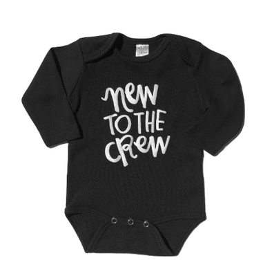 New to the crew black onesie long sleeve