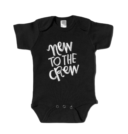 New to the Crew black short sleeve onesie