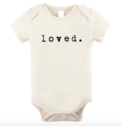 Tenth and Pine - LOVED Short-Sleeve Organic Onesie in Natural