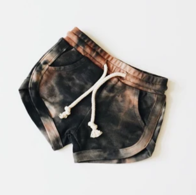 Orcas Lucille - Acid Wash Track Shorts in Black