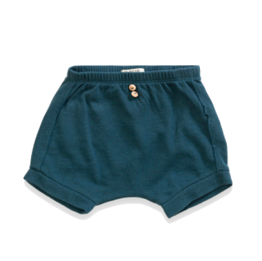 organic baby shorties in teal