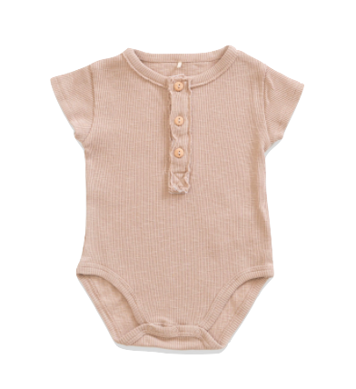 Play Up oatmeal henley onesie