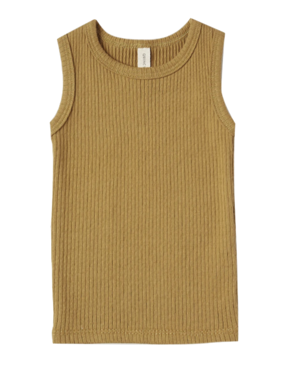 Quincy Mae ribbed tank ocre