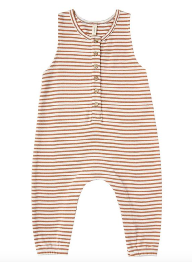 Quincy Mae sleeveless jersey jumpsuit rust stripes
