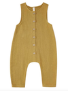Quincy Mae woven button jumpsuit Ocre