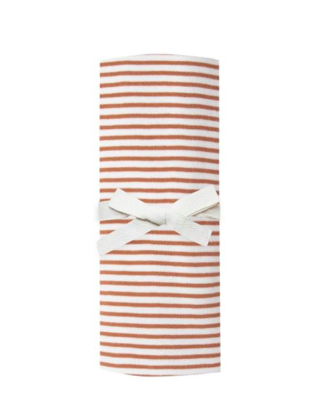 Quincy Mae - Organic Baby Swaddle in Rust Stripes