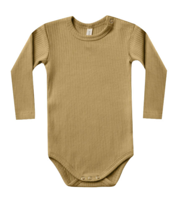 Quincy Mae organic ribbed onesie ocre