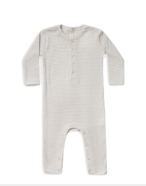 Quincy Mae ribbed baby jumpsuit fog stripe