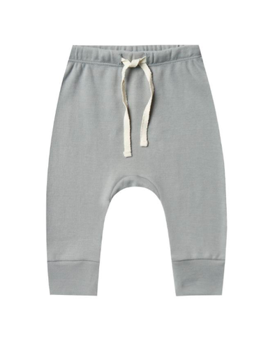 Quincy Mae - Organic Drawstring Pants in Dusty Blue