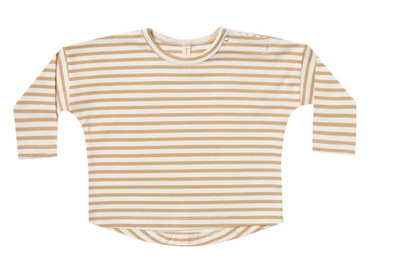 Quincy Mae long sleeve tee in honey stripes