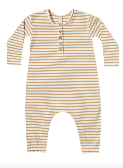 Quincy Mae long sleeve jumpsuit in Honey Stripes