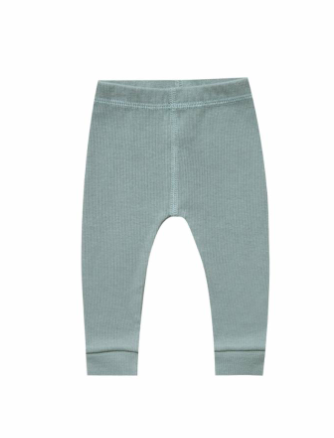 Quincy Mae baby ribbed leggings in Sea