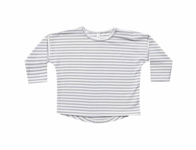 Quincy Mae long sleeve tee in grey stripes