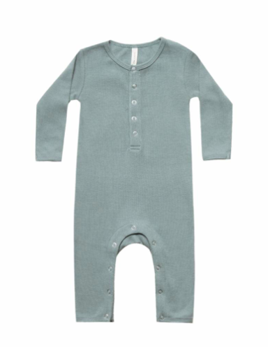 Quincy Mae - Baby's Ribbed Jumpsuit in Sea