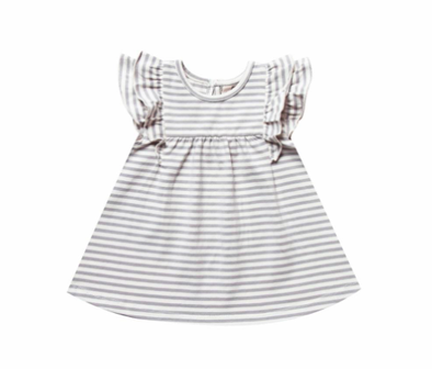Quincy Mae flutter dress is grey stripes