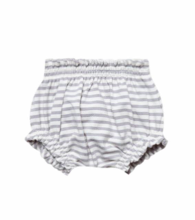 Quincy Mae - Baby Girl Gathered Bloomers in Grey Stripes