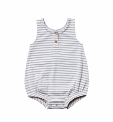 Quincy Mae - Baby's Striped Sleeveless Bubble in Grey Stripes