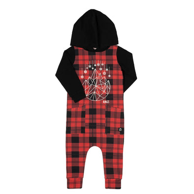 Rags - Hooded Hip Pocket Romper in Christmas Plaid