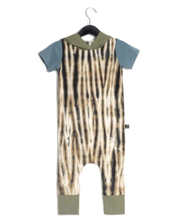Rags - Short-Sleeve Hooded Rag in Tie Dye Turtle Dove (Size 12-18mo)