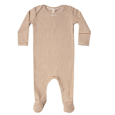Quincy Mae footie in walnut stripe