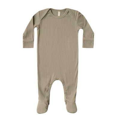 Quincy Mae ribbed footie olive