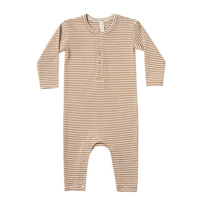Quincy Mae ribbed jumpsuit walnut stripe